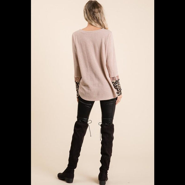 Make Me Blush Sequin Leopard Color Block Sweater