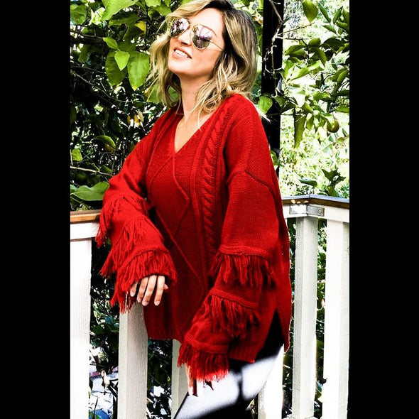 On The Fringe V Neck Fringe Sweater in Scarlet Red