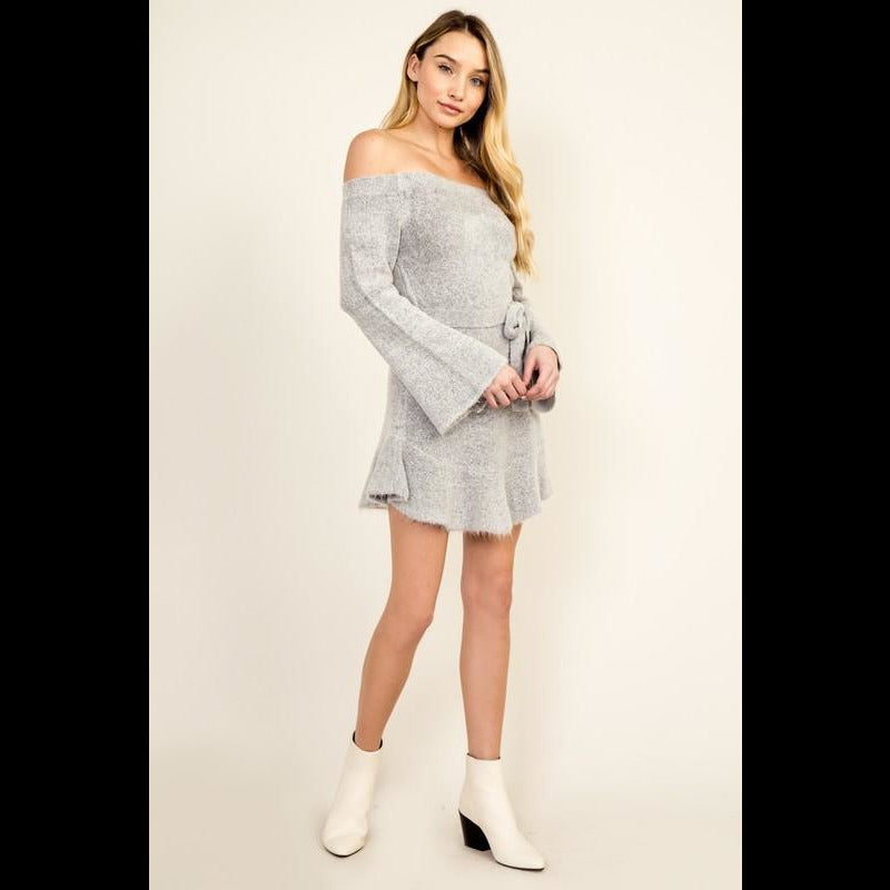 Tied Up Right Now Off the Shoulder Sweater Dress in Gray
