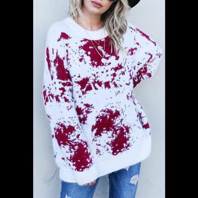 Crimson Splash Crew Neck Sweater