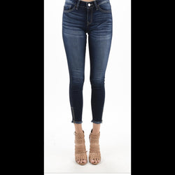 Luca Cropped Denim Jean in Medium Fade Wash