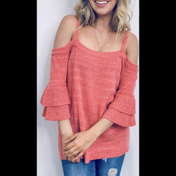 Lush Life Cold Shoulder Chenille Top in Coral