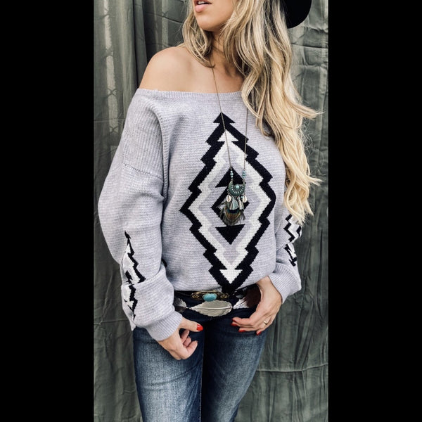 Bunkhouse Native Print Sweater in Fog