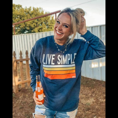 Live Simple Graphic Sweatshirt In Denim Blue