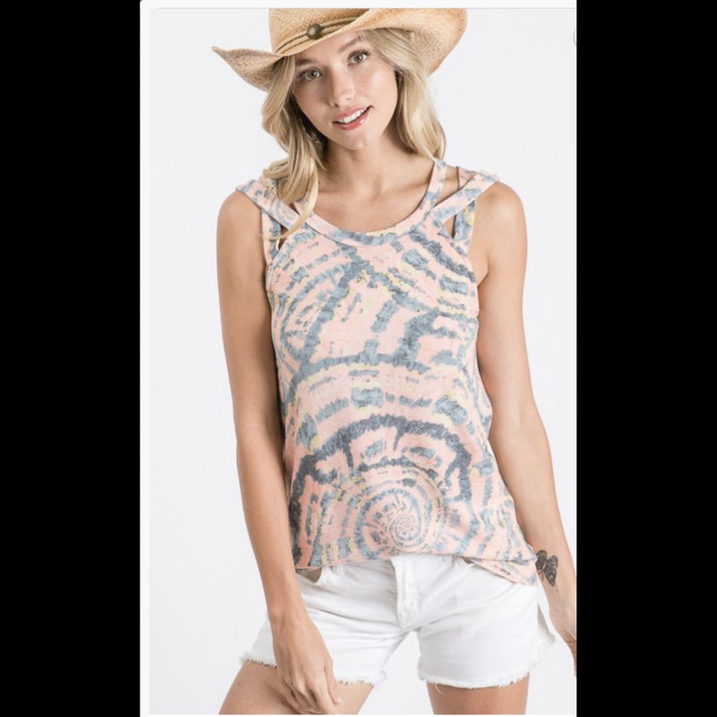 Into the Mystic Criss Cross Strap Tie Dye Top