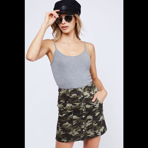 Don't Hide Your Love Button Down Camo Mini Skirt