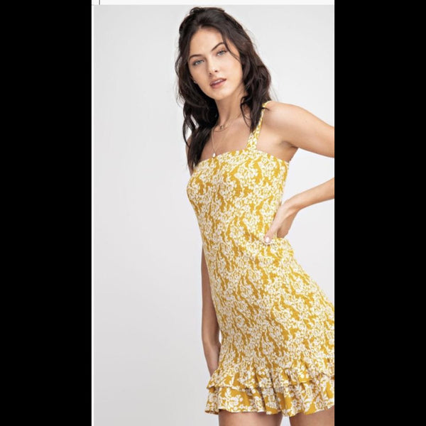 Be A Flirt Smocked Dress in Mustard