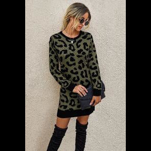Cat Walk Sweater Dress In Olive Leopard