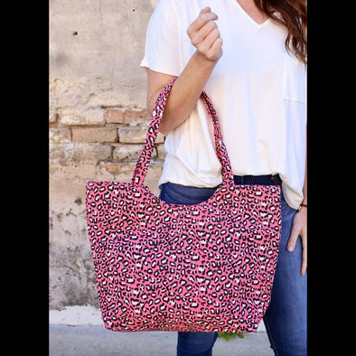 Ryan Zippered Leopard Tote in Teal