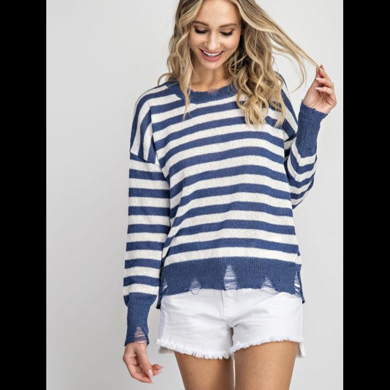 Leisure Life Distressed Lightweight Striped Sweater