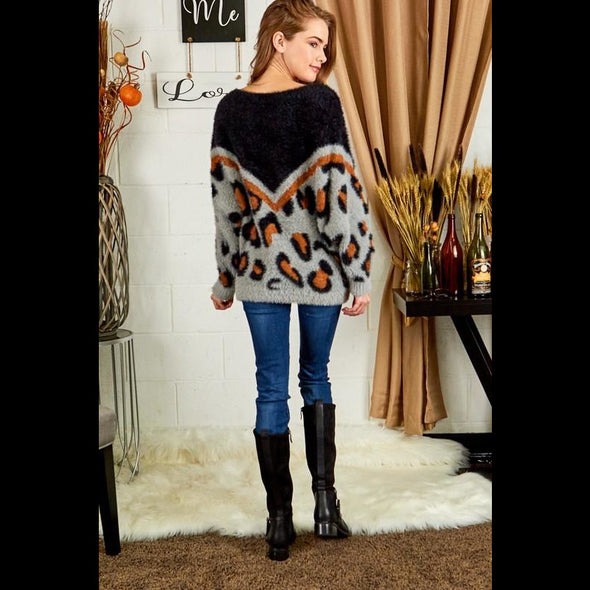 Wild and Cozy Leopard Dolman Sleeve Tunic Sweater