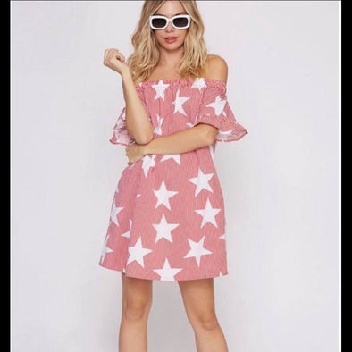 Summer Stars Off the Shoulder Dress