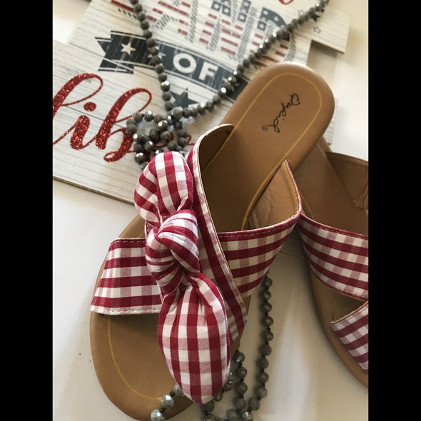Knot Yours Red/White Gingham Check Sandal Slides