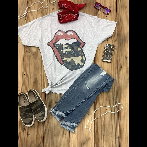 Camo Lips Tee in Heather Gray