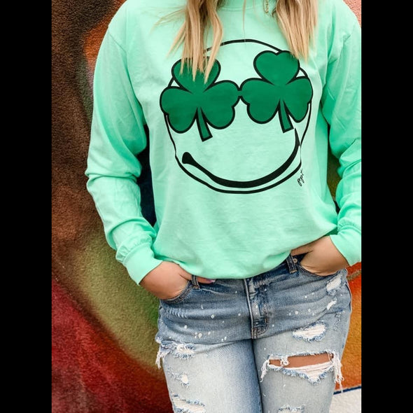 Shamrock Smiley St. Paddy Long Sleeve Tee
