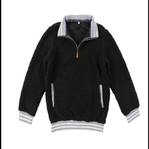 Go Retro - Vintage Inspired 1/4 Zip Sherpa Fleece/Black w/Gray Trim