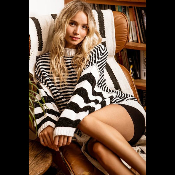 Warm Feelings For You Striped Chenille Sweater