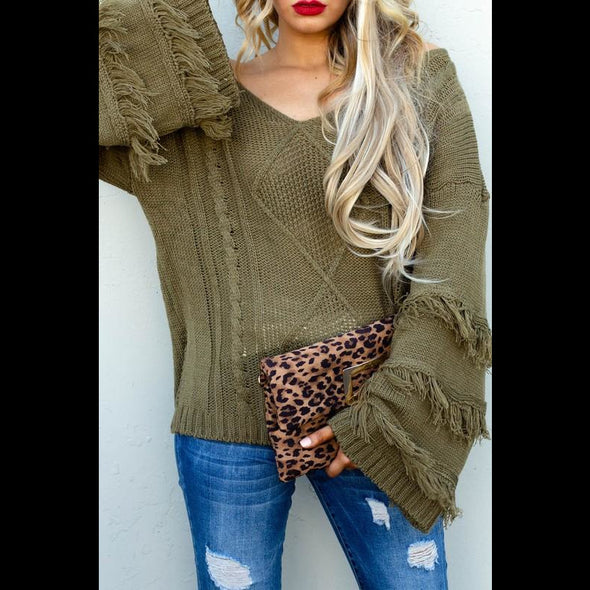 On The Fringe V Neck Fringe Sweater in Olive