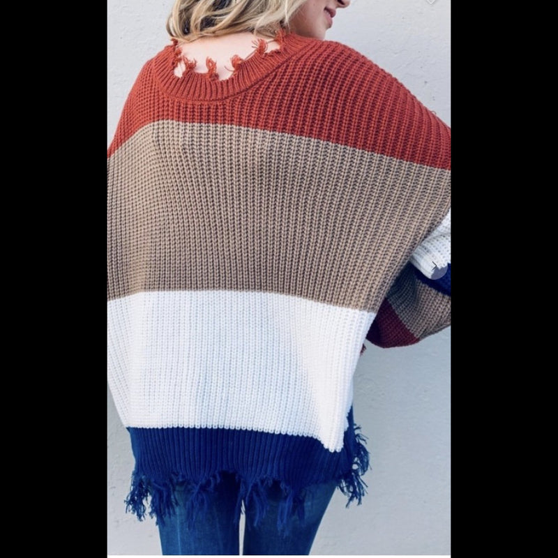 Express Yourself Frayed Edge Color Block Sweater
