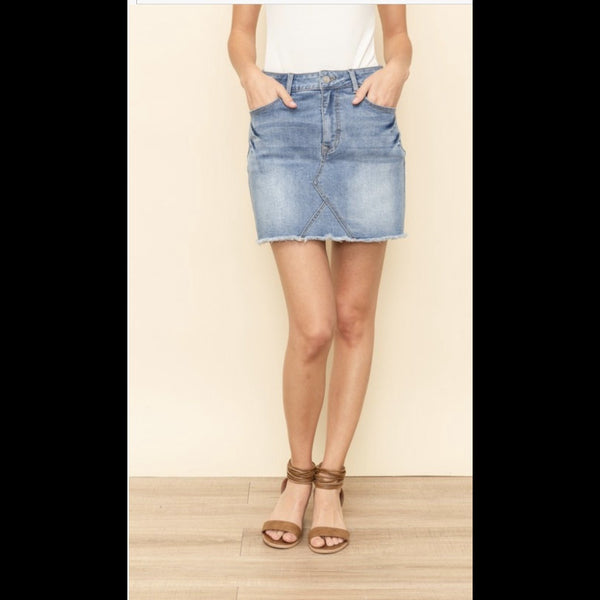 Place In the Sun Frayed Edge Denim Skirt