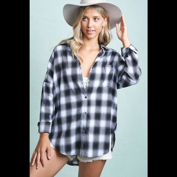 Yellowstone Y Button Down Flannel Shirt in Black/White