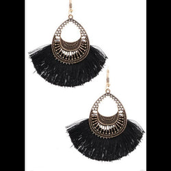 Metal Teardrop Cotton Fringe Earrings in Black