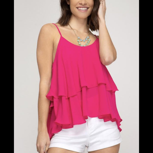 Ruffled Feathers Tiered Ruffle Top in Fuchsia