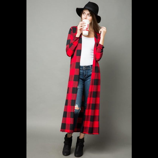 Yellowstone Fireside Buffalo Cardigan in Red/Black Check