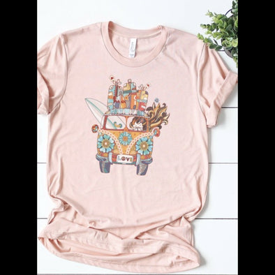 Love Bus Tee in Peach