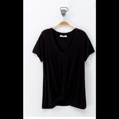 Twist At The End V Neck Twist-Front Tee in Black