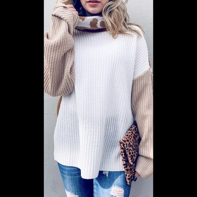Peanut Butter Cheetah Color Block Sweater