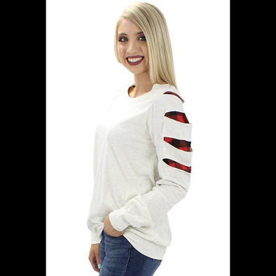 Slash Everything Buffalo Plaid Inset Sleeve Long Sleeve Tee