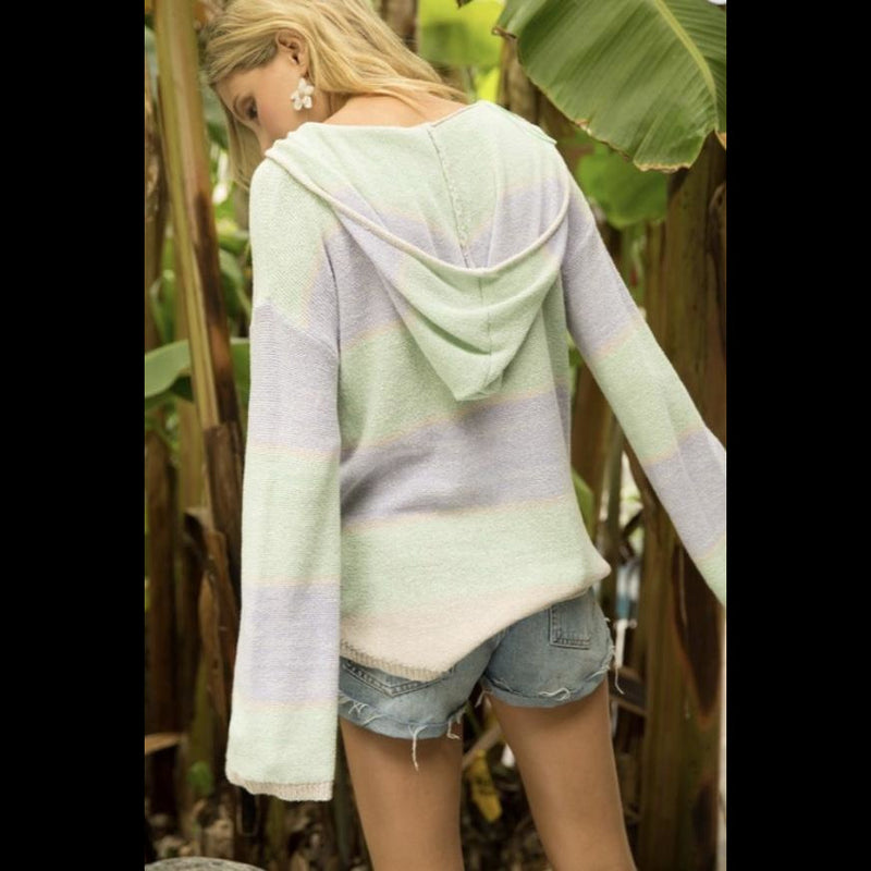 Color Me Softly Color Block Pocket Front Hoodie Sweater in Lavender and Mint