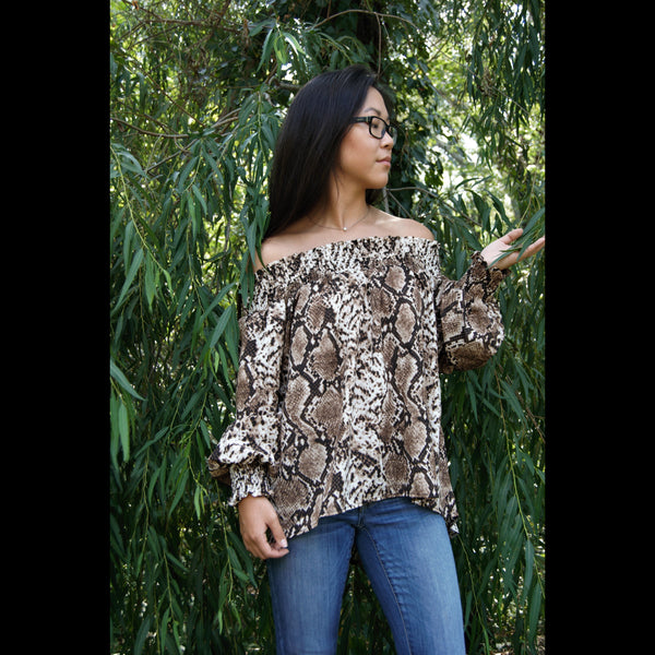 Snake Your Way Off Shoulder Top in Mocha