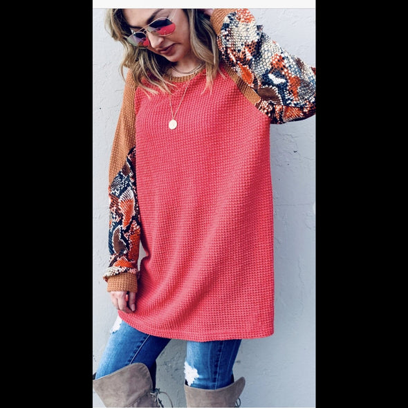 Grapefruit Juicy Fruit Snake Print Sleeve Thermal Tunic Top