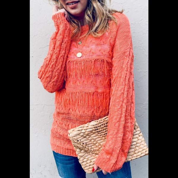 Orange You Glad Lightweight Textured Sweater in Tangerine Orange