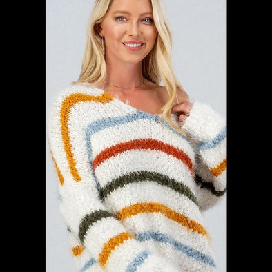 Yikes Stripes Fuzzy Knit Striped Sweater