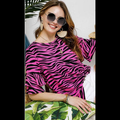 Wow Factor Zebra Pattern Bell Sleeve Top in Fuschia/Black