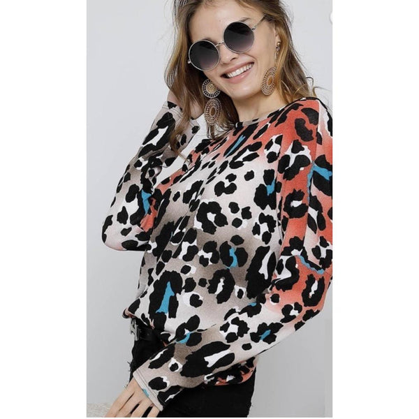 Make A Splash Leopard Print Twisted Back Long Sleeve Top