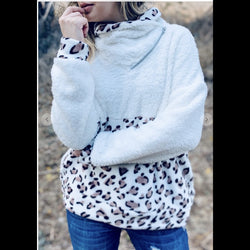 Quick Cuddles Sherpa Turtleneck Zip Up Cheetah Print Fleece Top
