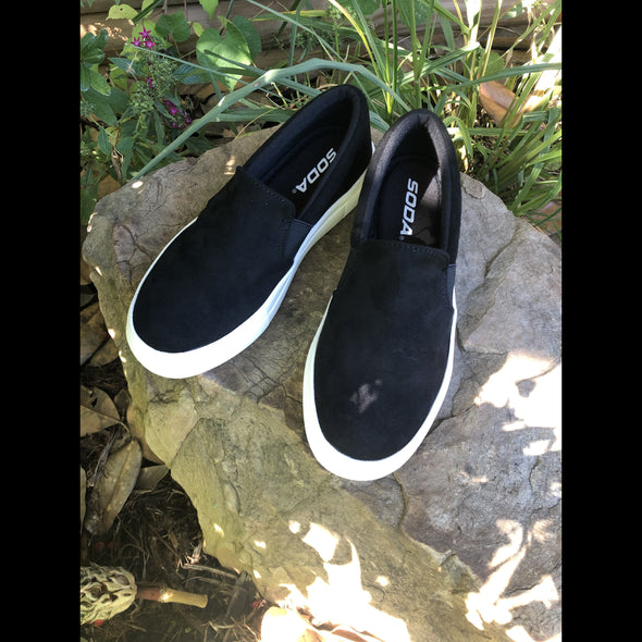 Lisa Black Suede Slip On Platform Sneaker