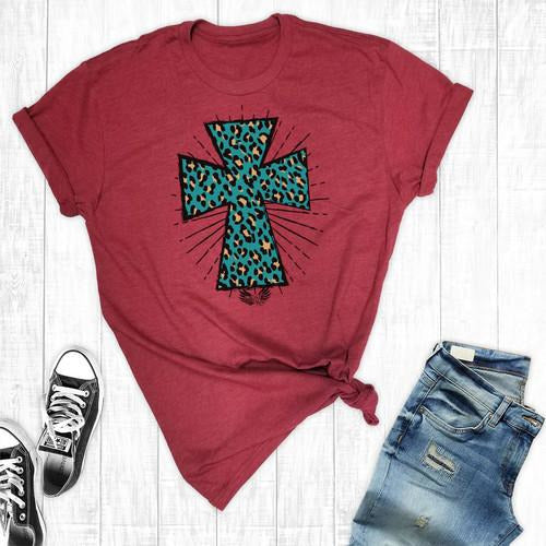 Turquoise Leopard Cross Graphic Tee
