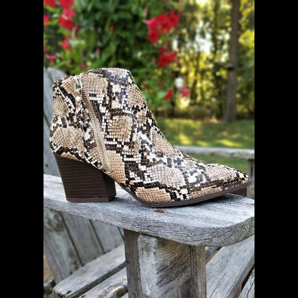 Hayley Ankle Bootie in Brown Snake