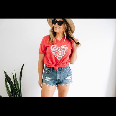 Your Cheetah Heart Tee in Red