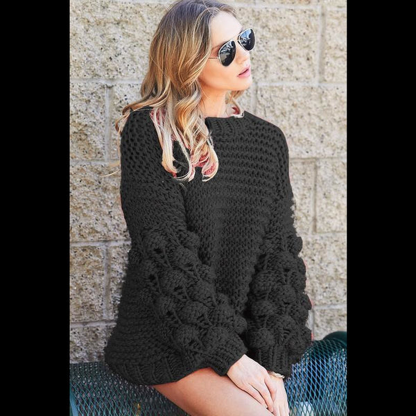 Talk of the Town Black Handmade Sweater