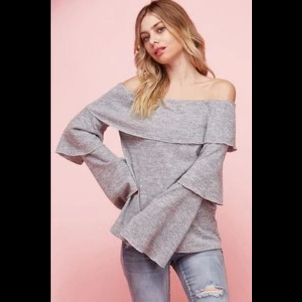 Here She Comes Off-the-Shoulder Knit Top