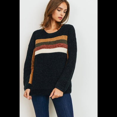 Vail Valley Colorblock Chenille Knit Sweater in Black