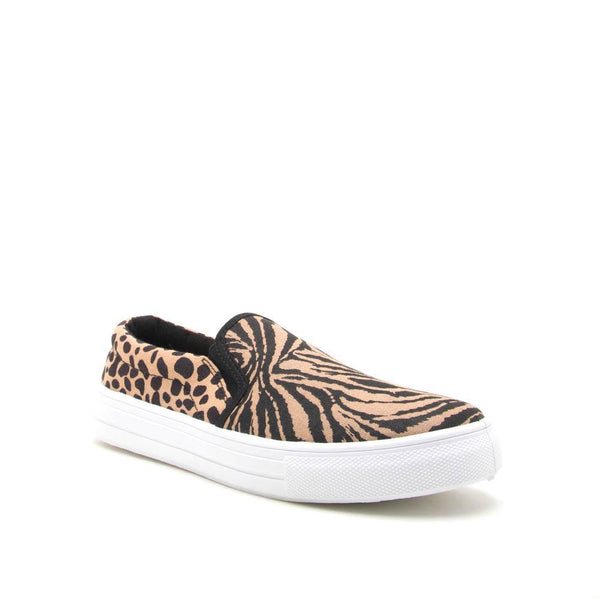 Bindi Step In Sneaker in Tan/Black Tiger Print