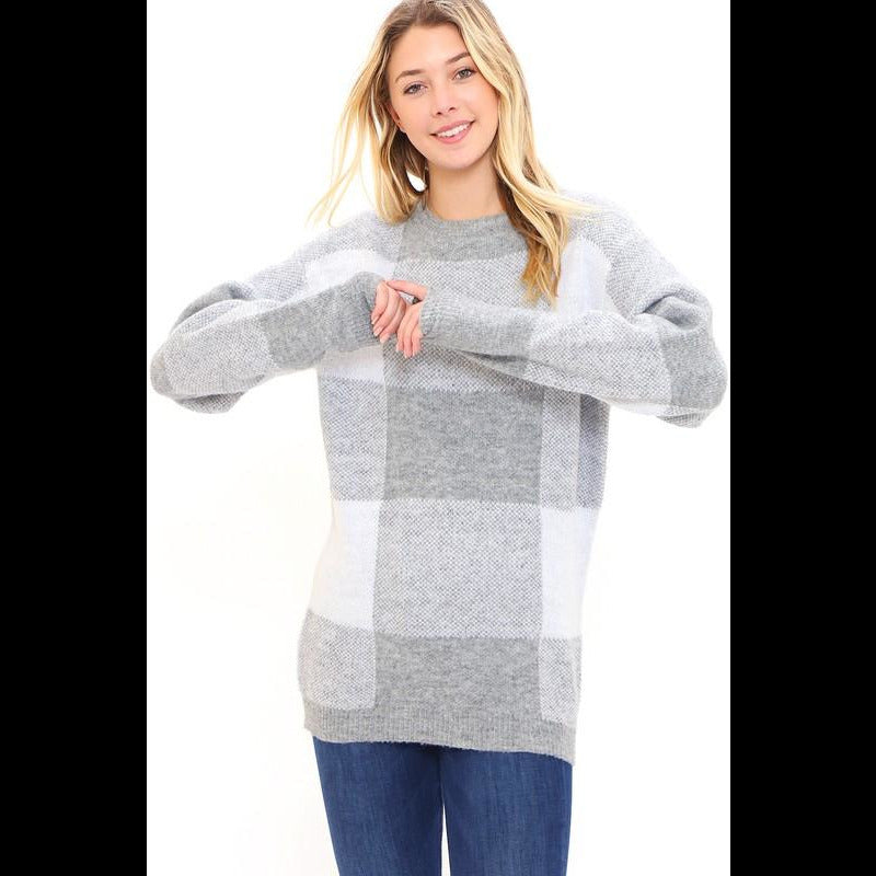 Join Me Slopeside Heathered Grey Plaid Sweater