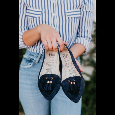 Rollasole Packable Flats in Midnight Blue